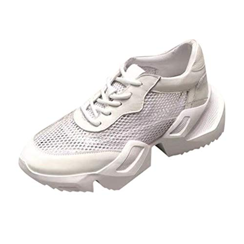 (AHAYAKU Womens Sneakers Mesh Ultra Breathable Thick Bottom Athletic Running Sports Shoe White )