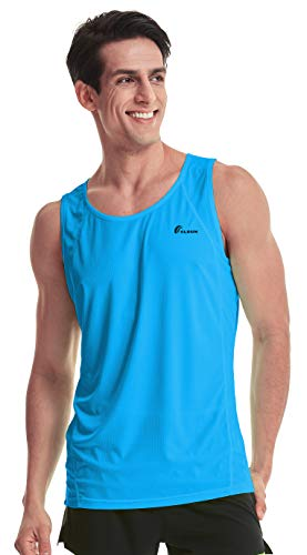 TLRUN Ultra Lightweight Running Singlet for Men Beach Tank Top Dry Fit Workout Sleeveless Shirts(X-Small Blue) (Tech Sleeveless Shirt)