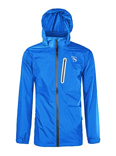 - GEEK LIGHTING Rain Jacket for Men, Outdoor Zipper Waterproof Lightweight Raincoat Windbreaker with Hooded (Blue, Small)