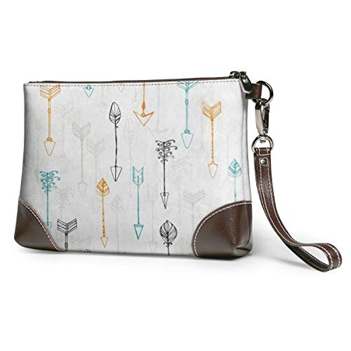 Women's Leather Zipper Wristlet Arrow Cellphone Card Wallets Clutch Holder Purse