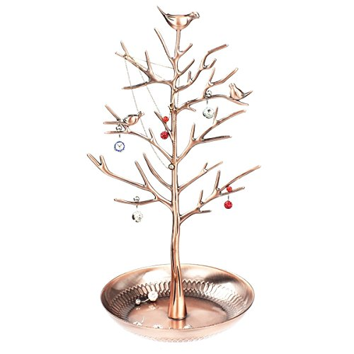 Pasutewel Jewelry Stand, Vintage Antique Birds Tree Jewelry Rack Tower Earring Necklace Rings Holder