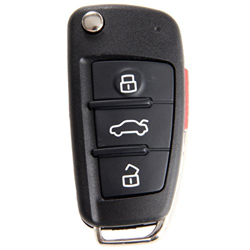 Aupoko 3 Buttons + Panic Key and Blank Folding Flip Key, Replacement Key Shell Case Fit for Audi A3 A4 A6 A8 TT Q7 S6 Quattro