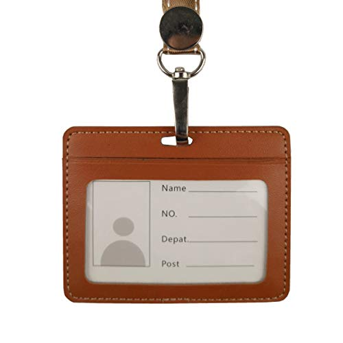 Lucstar ID Card Badge Holder Retractable with Lanyard Clear Window Quality Artificial Leather, 2 Slots Back and Front Perfect for Work Permits, Metro,Bus Card, Credit Card Holder (B Brown)