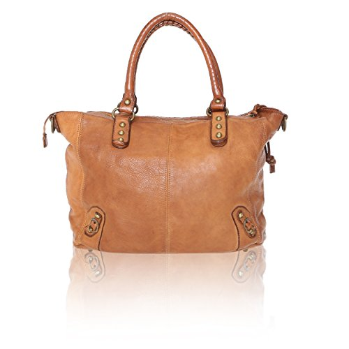 Donna Chicca Cuoio Cm In 36x27x13 Mano Intreccio Italy Borsa Borse Tan Pelle A Handbag Vintage Made Da Con Vera Linea Rq8Rwr