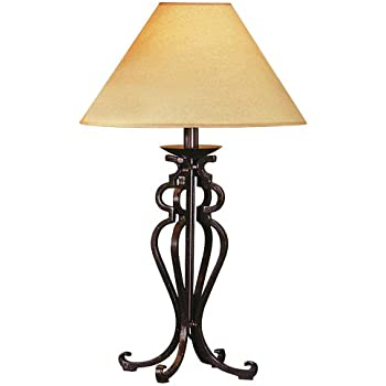 Merveilleux Open Scroll Rustic Wrought Iron Table Lamp