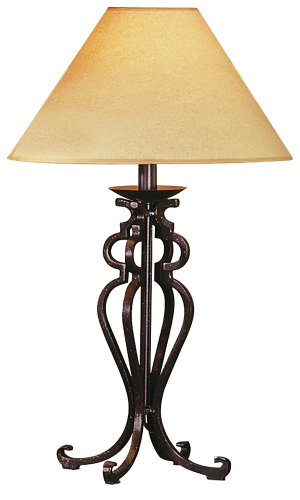 Open Scroll Rustic Wrought Iron Table Lamp by Franklin Iron Works