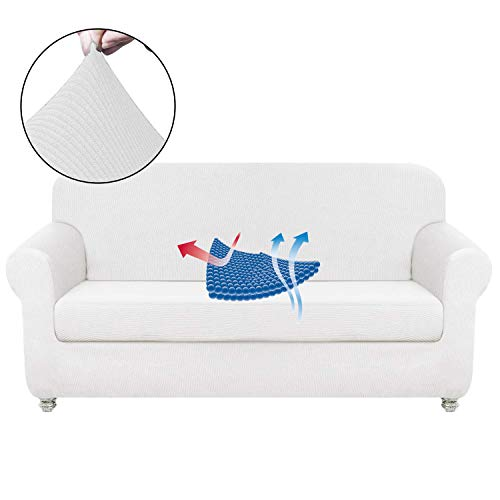 - Chelzen Stretch Sofa Covers Living Room 2-Piece Couch Covers Striped Furniture Protectors Spandex Fabric Dog Sofa Slipcovers (Loveseat, White)