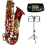 E Flat Red Alto Saxophone with Case,Mouth Piece,Black Music Stand+Metro Tuner