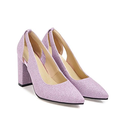 de Femmes Profonde Purple Chaussures CXQ amp;X QIN Bouche Chaussures Talons nbsp;Bloc Peu qwSxaORI