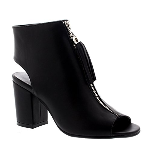 Quaste Schuhe Toe Faux Leder Schwarz Sandalen Ausgeschnitten Peep Party Damen xSqwXnp0RP