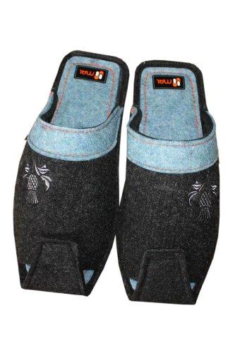 Herren Hausschuhe mit einer Distel-stickerei, Wolle, in Schwarz mit Blau Schwarz mit Blau