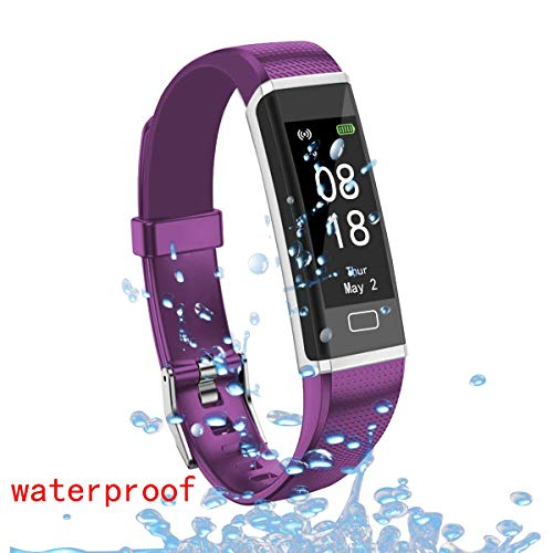AOLEE Fitness Tracker HR Heart Rate Monitor Smart Watch With Sleep Monitor, Bluetooth Pedometer Step Counter, Calorie Counter with Call/SMS Remind for iOS/Android Heart Rate Blood Pressure IP6(Violet)