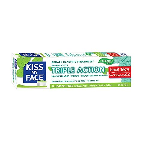 Kiss My Face Triple Action Fluoride-Free Natural Aloe Toothpaste Gel with Xylitol, Cool Mint, 4.5 oz - 2pc
