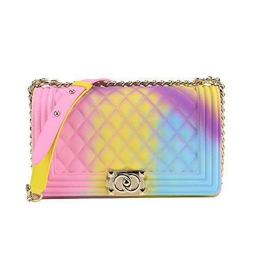 Jellyooy Beachkins Matte Colorful PVC Jelly Chain Bags Plaid Multicolor Crossbody Purse Bag (Colorful 05) - Multi Color Handbag