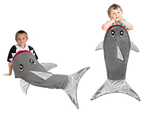 SHARKO Shark Tail Blanket Grey Fleece Fabric for Boys Girls Kids and Teens Age 3-12 Years Old. Best and Super Cuddly Gift for Christmas and Birthday -