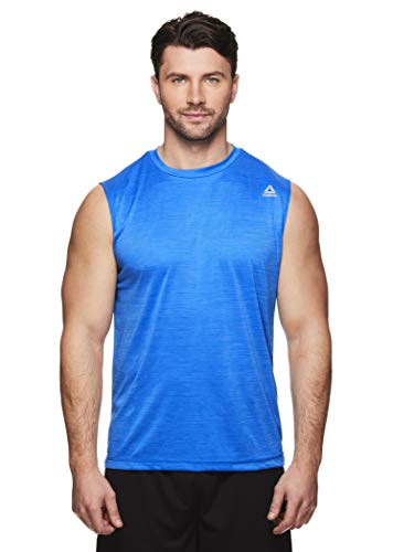 Reebok Men's Muscle Tank Top - Sleeveless Workout & Training Activewear Gym Shirt - Charger Electric Blue Leomade Heather, Medium
