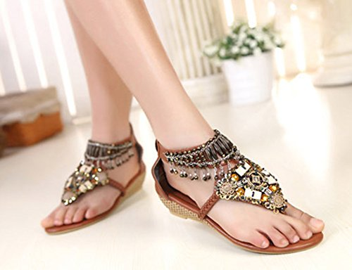 Aisun Womens Boho Beaded Covered Heels Open Split Toe Thong Flip Flop Sandals Wedge Shoes Brown MxBRPnE