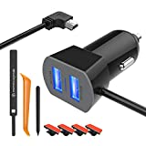 Apphome Car Charger Compatible for Garmin Nuvi, Dual Port USB Vehicle Power Replacement Charging Cable Cord Adapter with Styles Pen/Cable Clips/Car Crowbar for Dash Cam GPS Android Cell Phones