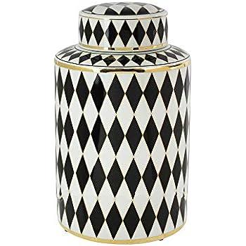 Sagebrook Home Decorative Ceramic Covered JAR, White/Black/Gold, 7x7x11.75,