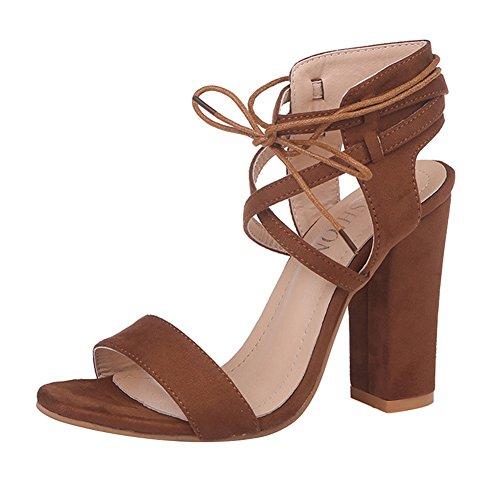 WuXi Mujer Bloquear Tacón Sandalias Verano Elegante Alto Talones Zapatos Moda Punta Redonda Sandalias para Noche, Casual, Boda, Paseo, Noche con Cordones Zapatos Marrón