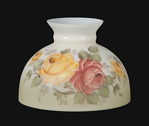 B&P Lamp Opal Glass Student Shade, Victorian Roses Scene by B&P Lamp