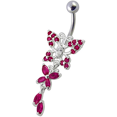 Red Gemstone Fancy Dual Butterfly Dangling 925 Sterling Silver with Stainless Steel Belly Button Navel Rings ()