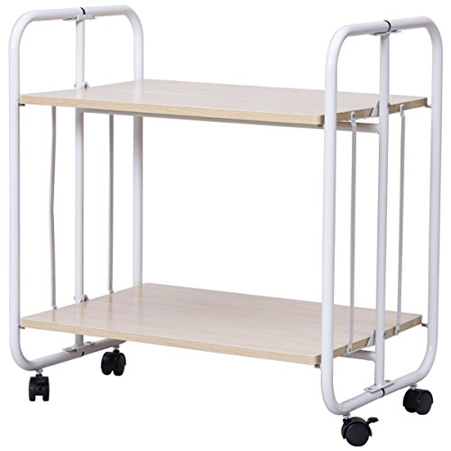 billionese Folding Rolling Serving Cart Utility Steel Cart Shelves Kitchen Storage 2 Tier by billionese