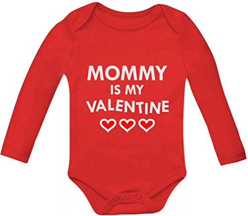 Mommy Is My Valentine Mom & Infant Valentines Day Gift Baby Long Sleeve Bodysuit 6M Red