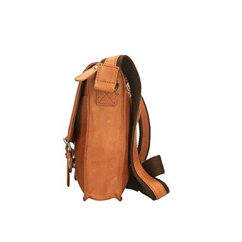 Chicca Borse Luxury - Bolsa Maletín de viaje de espalda unisex en piel auténtica - 30x25x7 Cm Broncearse