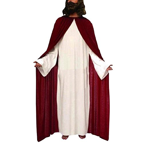 [LETSQK Friar Jesus Monk Missionary Priest Robe Tunic Cloak Party Halloween Costume Jesus] (Missionary Costumes)