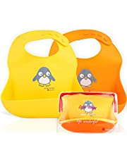 NatureBond Silicone Baby Bibs Easily Wipe Clean with Waterproof Pouch - Comfortable Soft Waterproof Bib Keeps Stains Off (2 PCs)