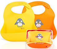 NatureBond Waterproof Silicone Baby Bibs For Babies & Toddlers (2 PCs) with Waterproof Pouch (Lemonade Yel