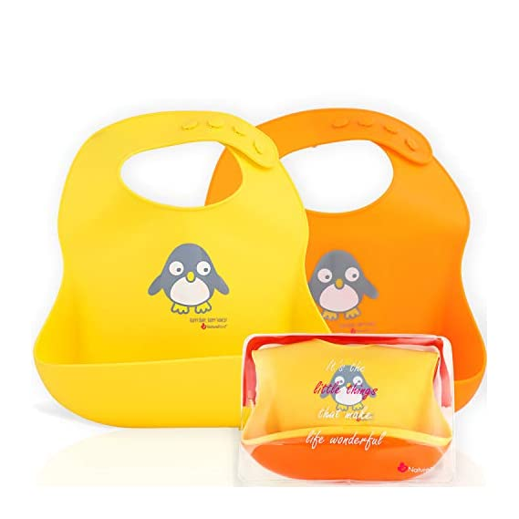 NatureBond Waterproof Silicone Baby Bib for Feeding Babies and Toddlers, Unisex Set of 2 Silicone Baby Bibs