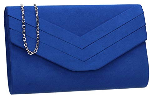 Samantha Faux Leather Suede Womens Party Prom Wedding Ladies Clutch Bag - SWANKYSWANS (Royal Blue)