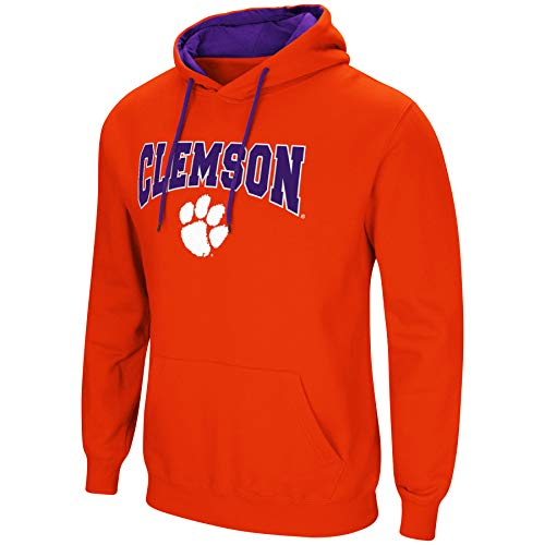 Colosseum NCAA Men's-Cold Streak-Hoody Pullover Sweatshirt with Tackle Twill-Clemson Tigers-Orange-Large