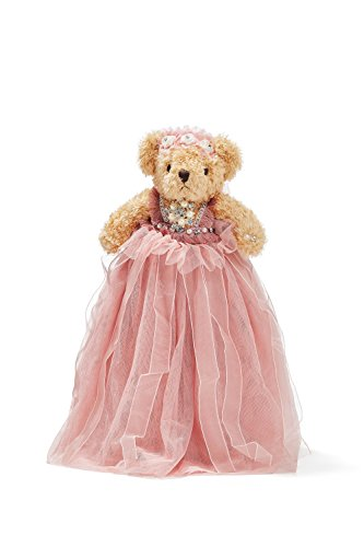 "Bride Teddy Bear in Maxi Dress and Veil Wedding Stuffed Animal Soft Plush Toy 10"" (light brown, cherry blossom pink)"