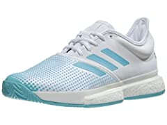 An update to the adidas Barricade Boost tennis shoes, the new adidas Sole Court Boost Parley Men's tennis shoes are comfortable, lightweight, stable, and durable making them ideal for tennis players of any level. This men's tennis shoe featur...