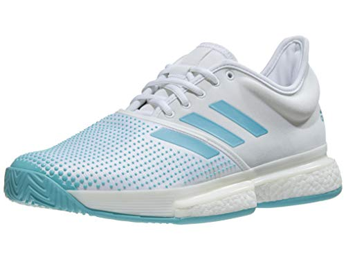 (adidas Men`s SoleCourt Boost Parley Tennis Shoes White and Vapour Blue (10.5) )