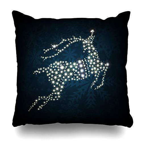 AlliuCoo Throw Pillows Covers Style Blue Black Merry Christmas Shine Deer Xmas Abstract Bright Celebration Effect Frost Design Year Home Decor Zippered Cushion Case Square Size 16