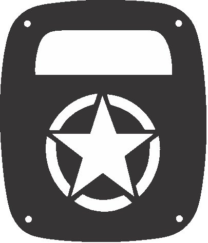 (JeepTails Normandy Invasion Star - Jeep CJ or Wrangler Tail Lamp Covers - Black - Set of)