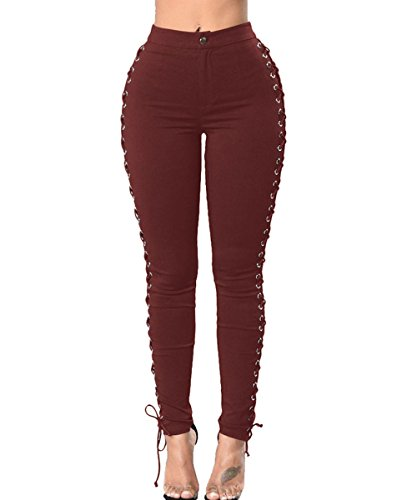 (Women's Skinny Side Lace Up Cross Pants Gothic Punk Ripped Casual Leggings Red L)