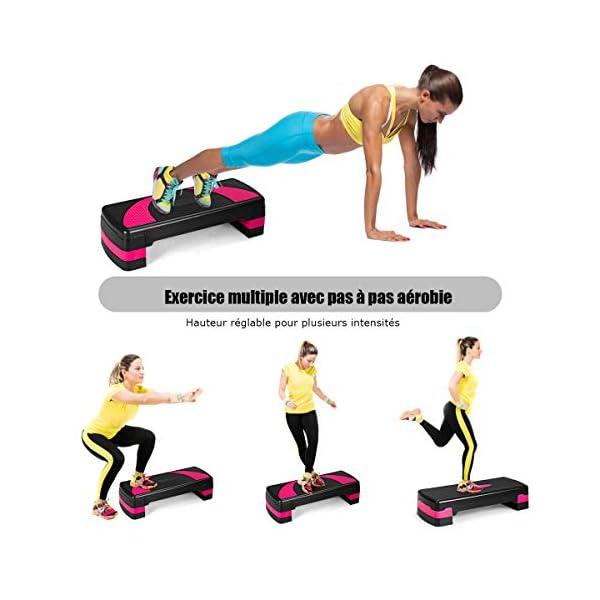 Costway Aérobic Step Fitness Réglable en Hauteur 2 Niveaux 10/15CM avec Surface Antidérapant Capacité de Poids 250KG pour pour Maison/Gym Exercice/Bureau accessoires de fitness [tag]