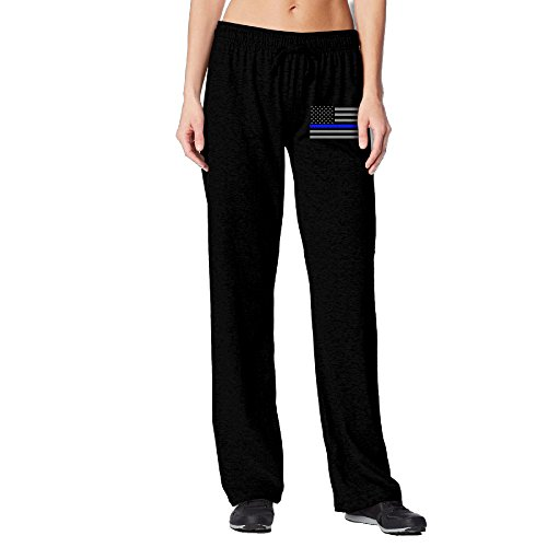 [BakeOnion Women's Thin Blue Line American Flag Performance Sweatpants XL Black] (Scott Hall Costume)