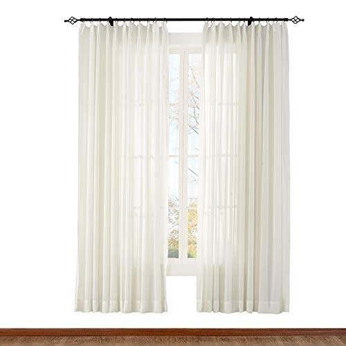 ChadMade Indoor Outdoor Solid Sheer Curtain Pinch Pleat Beige 120'' W X 96'' L Wide Opulent Voile Drapes (1 Panel) by ChadMade