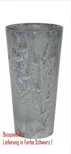 Blumenübertopf Artstone Clair Vase aus Kunststoff, sonnen-und regenbeständig für Innen und Außen, Farbe Schwarz, Ø 37cm Höhe 70cm