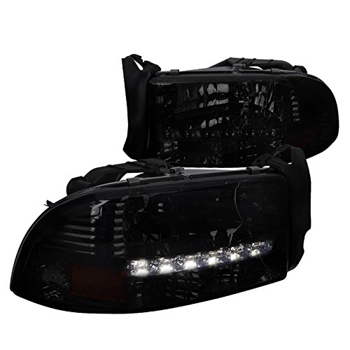 - Spec-D Tuning 2LH-DAK97G-RS Dodge Dakota Durango Crystal Smoke Headlights W/Led Drl Lamp