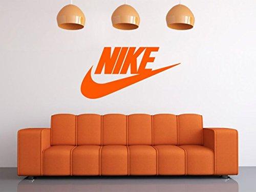 Nike wall art sticker logo pvc transfer modern decal black medium 57cm w x 30cm h amazon co uk kitchen home