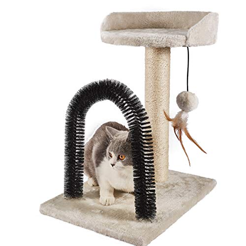 PEEKAB Cat Scratching Post with Cat Tower Tree and Cats Arch Self Groomer Massager Brush Kitty Ball Toys for Kittens and…