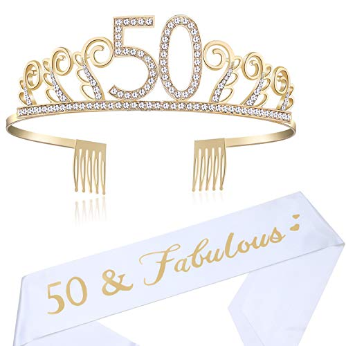 BABEYOND 50th Birthday Tiara and Sash Crystal Happy Birthday Crown and Satin 50 & Fabulous Sash 50th Birthday Party Supplies Rhinestone 50th Princess Crown and Glitter Sash (Set-1) -