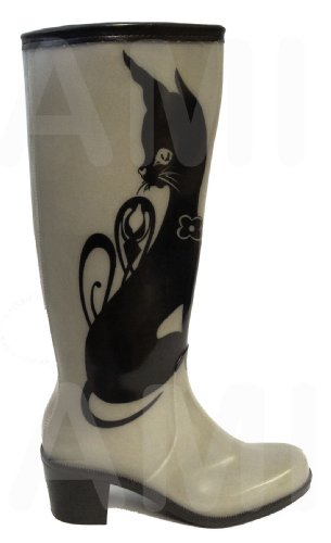 NEW WOMENS LADIES HEELIES, WELLIES, RAIN, SNOW, WELLINGTON BOOTS, V FESTIVAL, T IN THE PARK, READING, Size UK 3 4 5 6 6.5 7 *UK SELLER* Grey With Black Cat